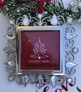 CHRISTMAS-TREE-ORNAMENT-PHOTO-FRAME-RHINESTONE-JEWELED-SQUARE-by-Studio-Decor
