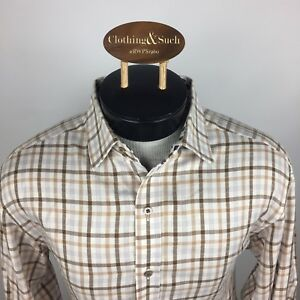 Robert-Graham-Mens-Large-Long-Sleeve-Dress-Shirt-Brown-Checked-Flip-Cuff