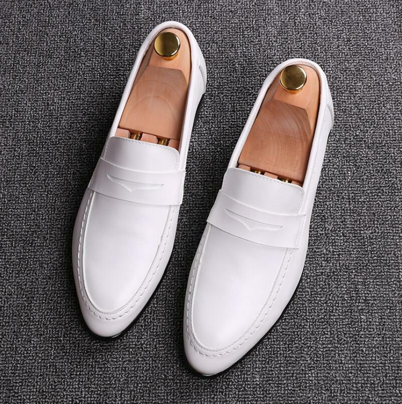 Men's Dress Pointy Toe Slip On shoes Faux Leather British Casual Wedding Loafer