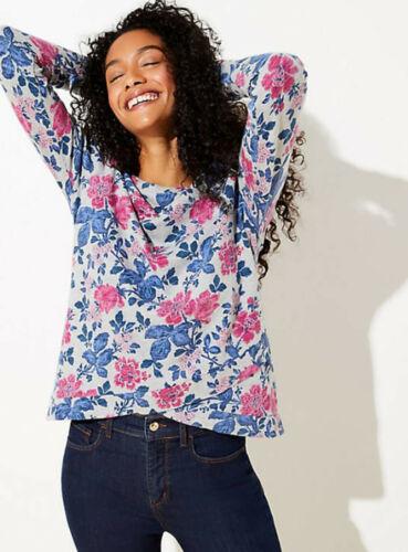 LOFT Grey Heather Vine Textured Crossover Hem Sweatshirt Top Size S M