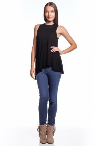 Wilt Dart Shell Top BLACK 51080 Asymmetrical Uneven Top High Low Hi Top Shirt