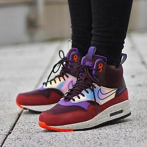 Details about Nike WMNS Shoes Air Max 1 Mid Sneakerboot 685269 600 Size 6 Deep Burgundy