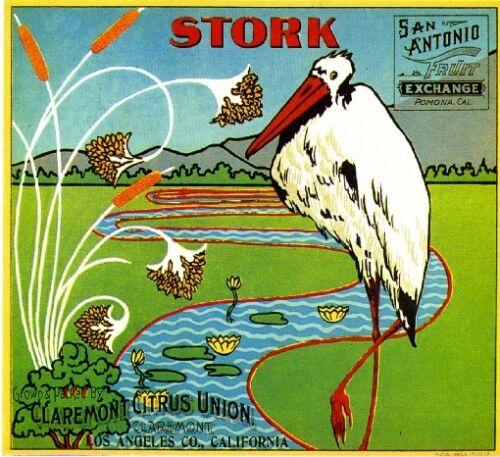Claremont Stork #3 Orange Citrus Fruit Crate Label Art Print