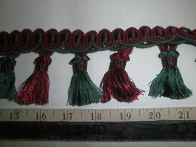 "9 yards BALL//ONION FRINGE 2/"" GREEN//RUST-RED//YELLOW Fabric Tassel Trim A503"