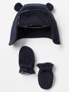 8b11da2a139 GAP Baby Boy Size 0-6 Months Navy Blue Fleece Bear Hat   Mitten Set ...