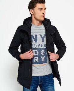 New Mens Superdry Surplus Goods Parka Black