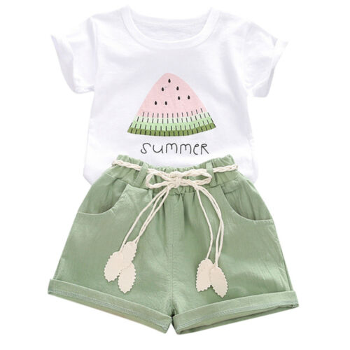 Toddler Kids Baby Girls Summer Watermelon Print Tops+Shorts Outfits Set Clothes