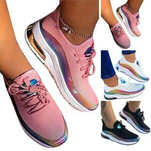 UK Women Running Pumps Mesh Breathable Sport Trainers Slip On Sneakers Gym Shoes