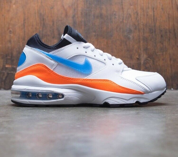 Air Max 93 White blueee Nuebla-Total orange Size 8.5