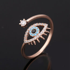 ad1c1957867d1 Details about Evil Eye Rose Gold Plated Turquoise Cubic Zirconia Open  Adjustable Ring Jewelry