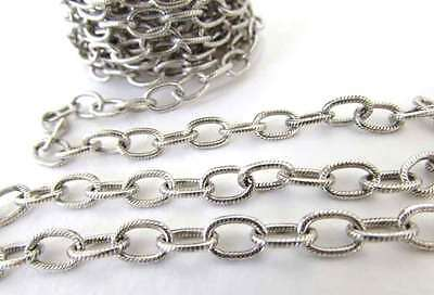 Antiqued Silver Ox Chain Cable Textured Oval Open Links Nunn Design 9x6mm