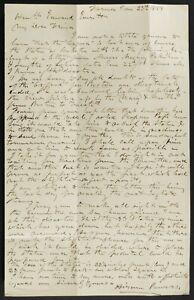 Hiram Powers Autograph Letter ALS 1858 Florence,Daniel Webster statue lost @ sea