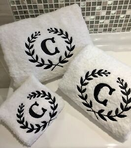 Personalised Towels Luxury Monogram Facecloths Hand Towels and Bath Towels