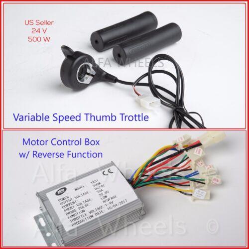 500W 24 V Electric Go-Kart 1020 Motor w Base+Reverse Control Box+Thumb Throttle