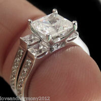 Princess Cut Man Made Diamond Engagement Ring Wedding Band 14k Solid White Gold