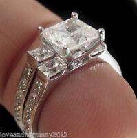 Princess Cut Man Made Diamond Engagement Ring Wedding Band 14k Solid White Gold