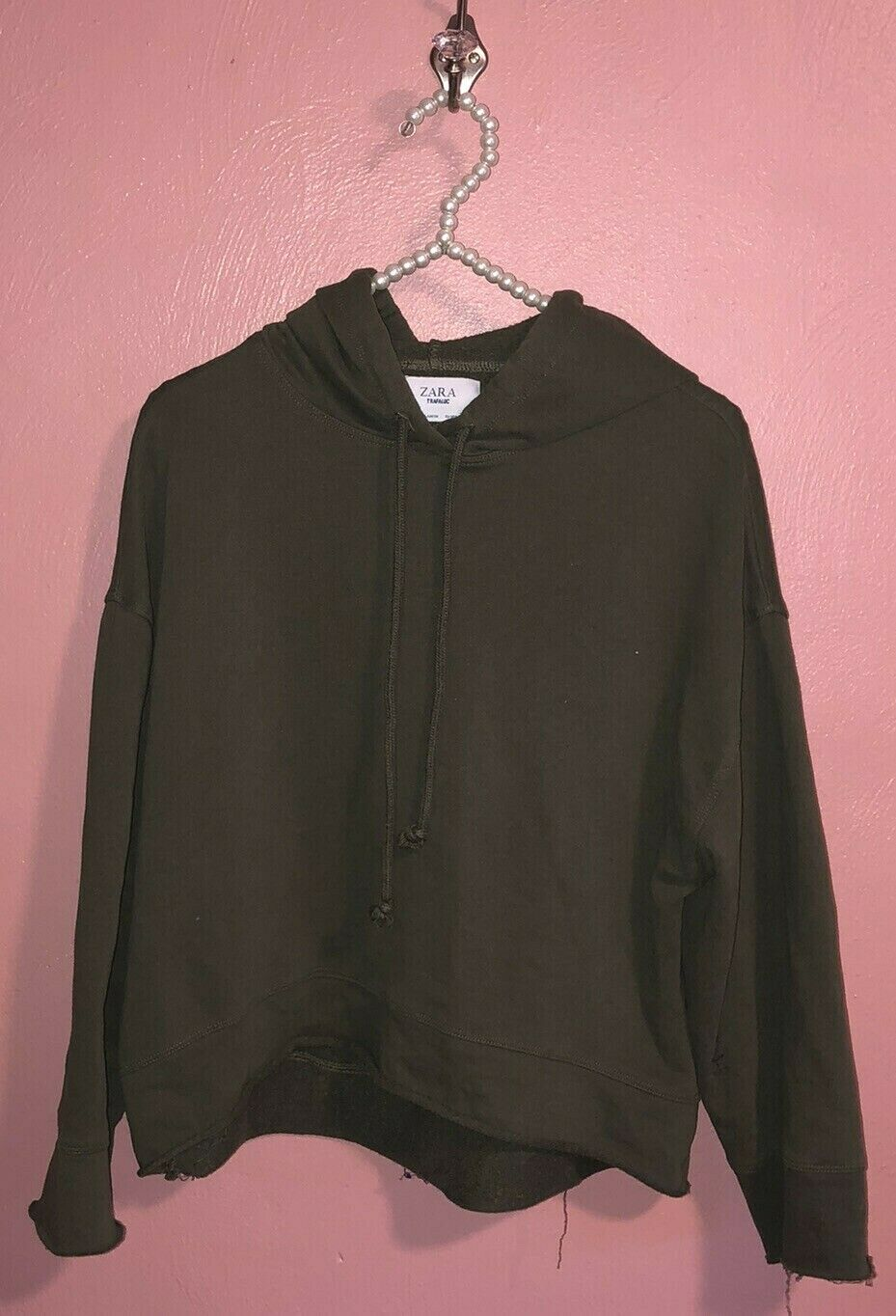 ZARA Trafuluc Dark Olive Green Pullover Hoodie Small S