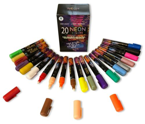 Chalk Markers 20 Neon Colors NEW Erasable White Boards And Glass Black