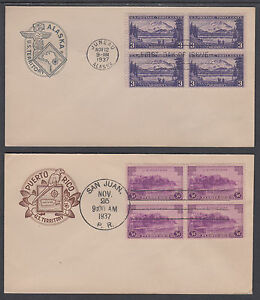 US-Sc-799-802-FDCs-1937-Territorial-Issue-cplt-in-blocks-on-4-House-of-Farnum