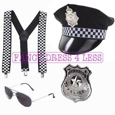 MENS POLICEMAN BRACES HAT HANDCUFFS AVIATORS POLICE COP FANCY DRESS STAG DO