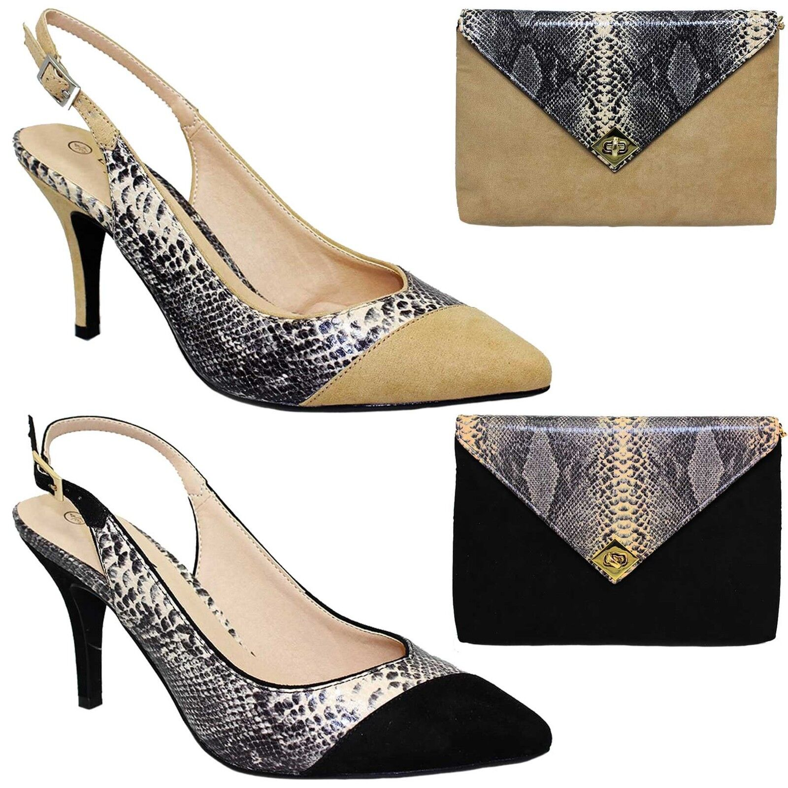 FLV359 Tessie Ladies Pointed Toe Sling Back Snake Suede Low Court Heels