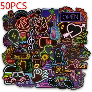 50Pcs-neon-light-style-cute-stickers-for-suitcase-laptop-guitar-cool-doodleHEP
