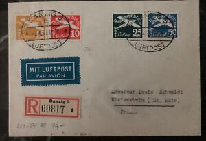 1939-Free-City-of-Danzig-Germany-Airmail-Cover-To-France-Sc-C36-39
