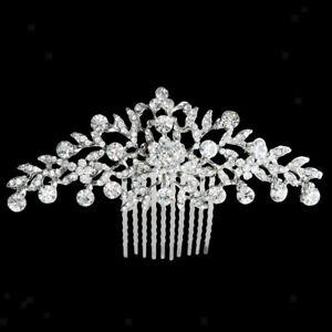 Bridal-Wedding-Flower-Diamante-Crystal-Rhinestone-Women-Hair-Comb-Jewelry
