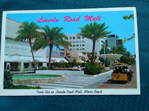 Vintage-postcard-Lincoln-road-Mall-tram-car-Miami-Fl-unposted-store-fronts