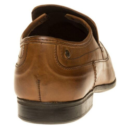 New Mens Base London Tan Tumble Leather Shoes Loafers And Slip Ons On