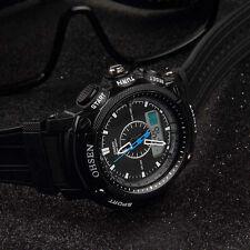 OHSEN Black Waterproof Digital LCD Day Alarm Mens Military Sport Rubber Watch HR