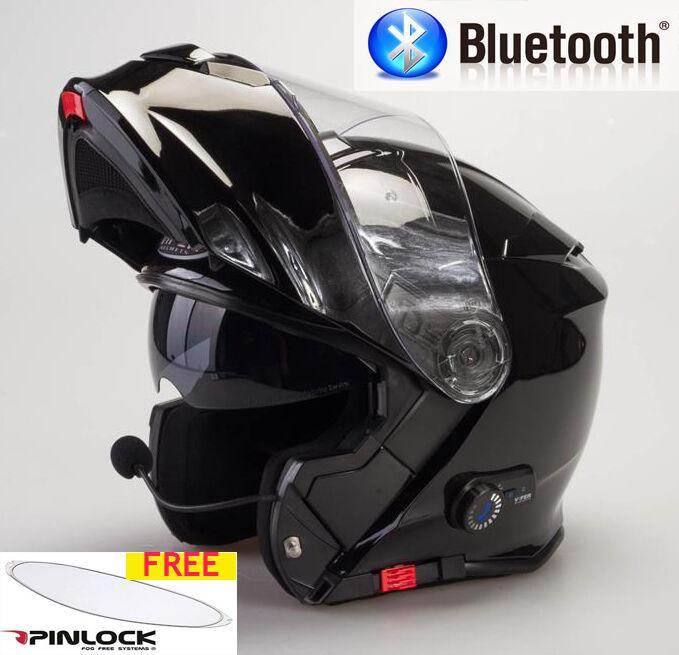 Viper Rs-V171 Blautooth Aufklappbar Vorne Motorrad Helm Glanz Schwarz
