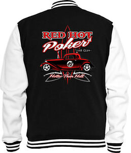 Poker Us Sweat Rod Rockabilly V8 Red College Jacke Hot Car ncqqRBHW