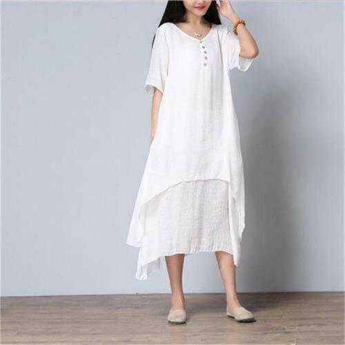 FEMME PAYSANNE ETHNIQUE en lin à manches longues robe longue Gypsy Chemisier Shirt Blouse