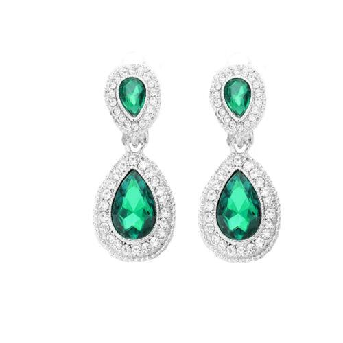 Lange Ohrclips Clips Clip Silber Ohrringe Kristall Klar Smaragd Grün 4 cm lang.