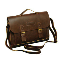 Men/'s Royal Vintage Large Brown leather messenger briefcase laptop shoulder bag