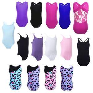 1ee38dc2e297 Kids Girls Gymnastics Leotard Sleeveless Ballet Dance Bodysuit ...