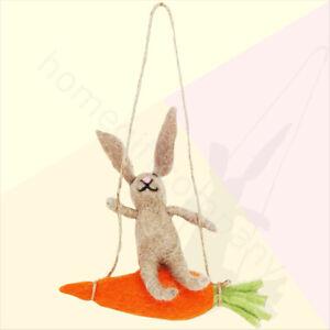 Gisela Graham Laine Hanging Easter Bunny Rabbit sur Carotte Ornement Décoration