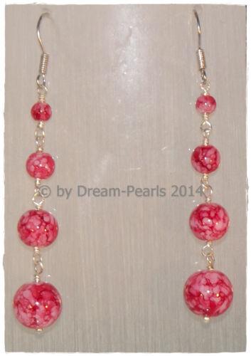 ♥ Dream-Pearls Design aretes de cristal jaspeado rosa negro rojo azul amarillo ♥ oh083