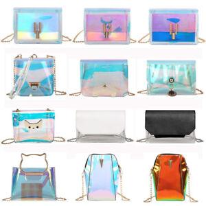 Women-PVC-Transparent-Jelly-Chain-Crossbody-Shoulder-Bag-Tote-Purse-Handbag-New