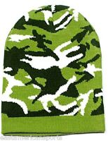 Camouflage Camo L. Green Winter Knit Hat Skull Cap Toboggan Beanie Hunting Army