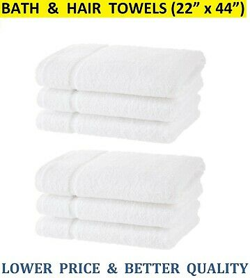 for Hotel Spa Pool Gym 6 Pack, 22 x 44 inch White ⭐ 100/% Cotton Bath Towels