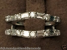 1/4 Ct Solitaire Enhancer Round Diamonds 14k White Gold Ring Guard Wrap