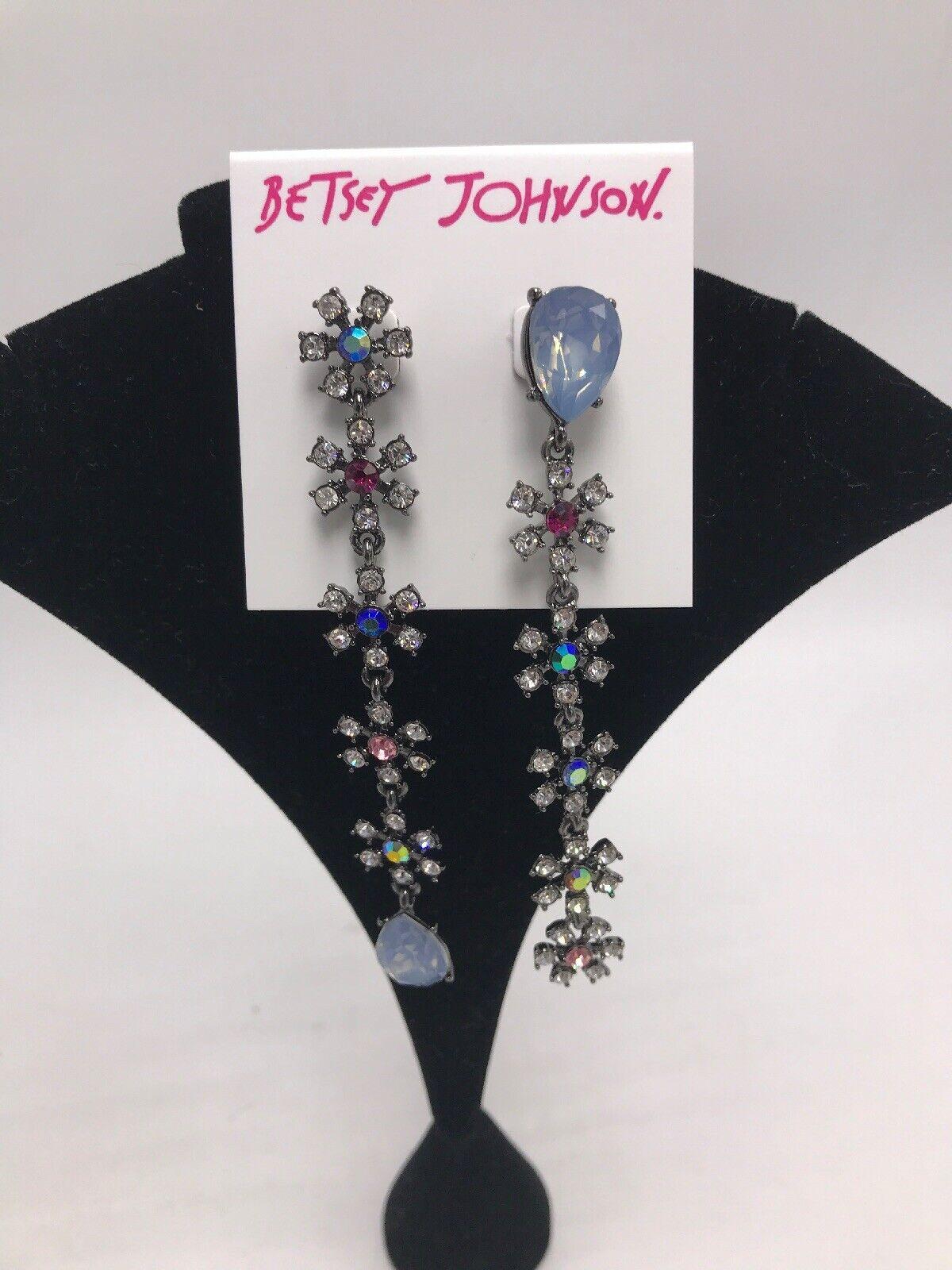 55 Betsey Johnson Hematite tone crystal  Daisy mismatch linear drop earning 207