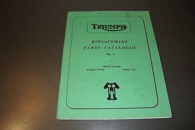 1960 Triumph Ricambio Catalogo Ricambi #3 Twenty-one, Doppia Velocità, Tiger 100 Evidente Effetto