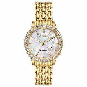 Citizen-Eco-Drive-Women-039-s-Diamond-Accents-Gold-Tone-29mm-Dress-Watch-EW2282-52D