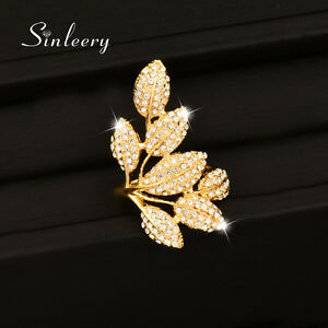 Big Gold Silver Tiny Crystal Leaf Cocktail Long Rings For Women Fashion Jewelry