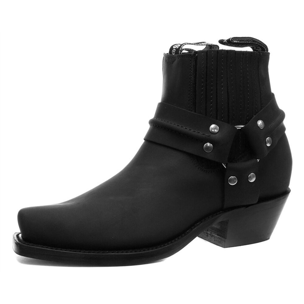 Grinders Harness Lo Black Leather Cowboy Biker Ankle Boots