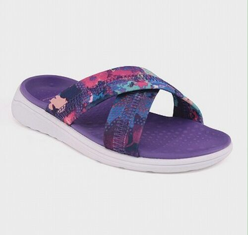 Champion Big Kids Girls Malvina Cross Band Cushioned Slides Sandals Multi Purple