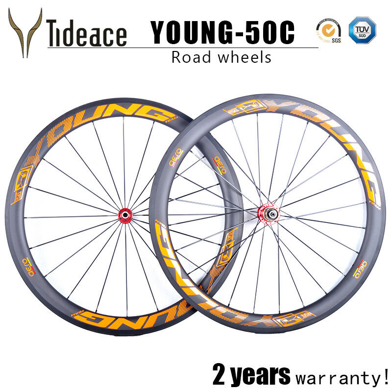 50mm 700C Carbon Road Cycling Bike Wheels orange Young T800 Bicycle Wheelset OEM